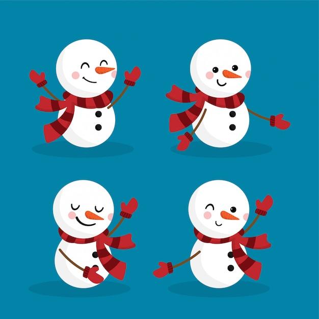 Set of snowman for christmas holiday season. Premium Vector