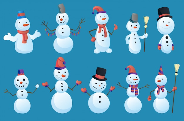 Set of snowmans in different poses with top hat and scarf isolated on white background. winter theme.  character illustration Premium Vector