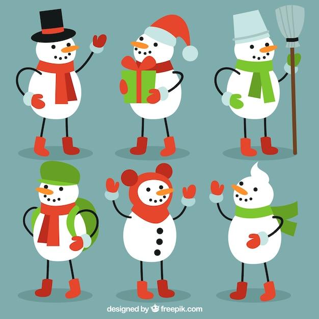 Insieme degli elementi di inverno pupazzi di neve Vettore gratuito