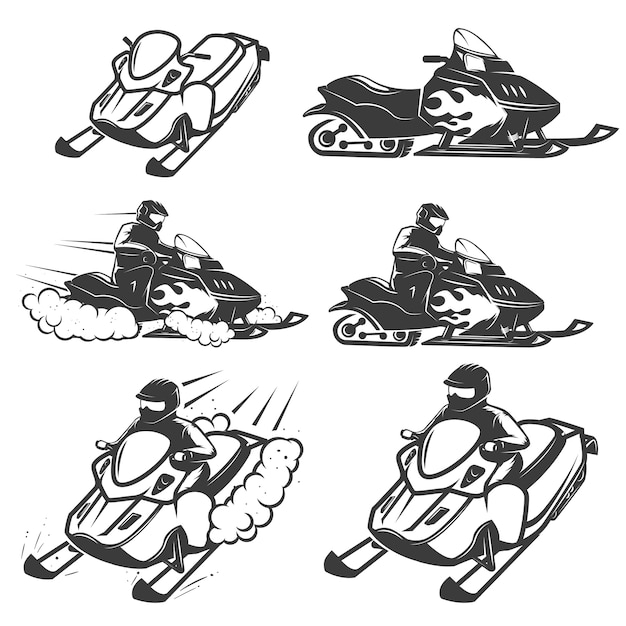 Set of snowmobile  on white background.  elements for logo, label, emblem, sign.  illustration Premium Vector