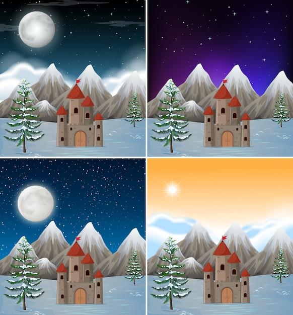 Set of snowy castle scenes Free Vector