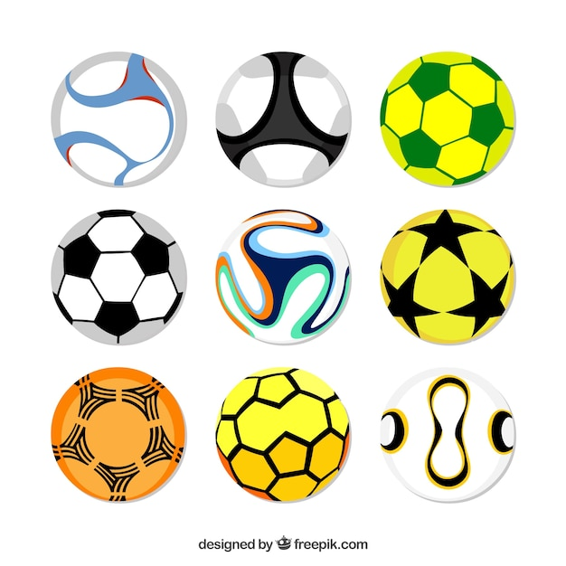 Set of soccer balls in flat style Free Vector