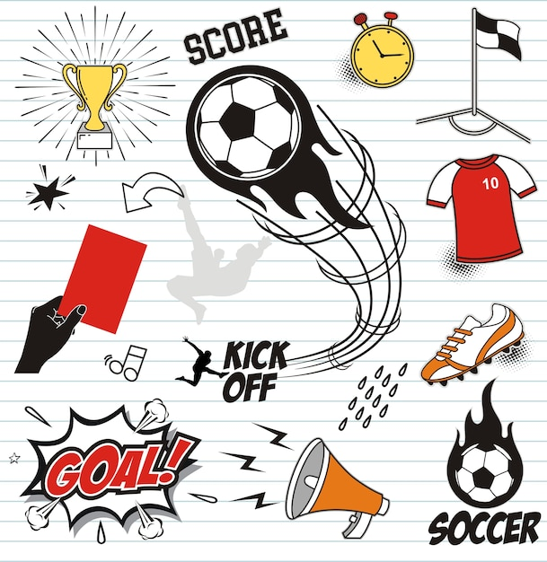 Set soccer doodles on paper background Premium Vector