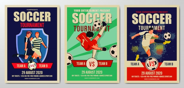 Set of soccer or football tournament flyer template Premium Vector