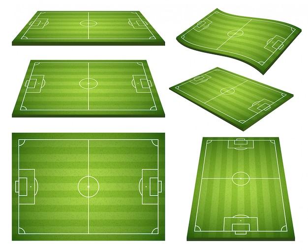 Set of soccer green fields Free Vector
