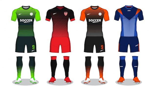 Set of soccer kit, sport t-shirt design. Premium Vector
