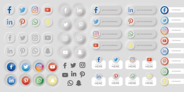 Set of social media buttons in neumorphic style Free Vector