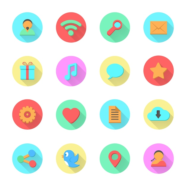 Set of social media icons Premium Vector