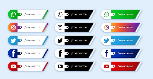 Set of social media lower third icons Premium Vector