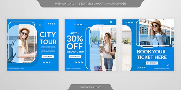 Set of social media post template Premium Vector