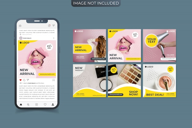 Set of social media premium instagram post or square banner template Premium Vector