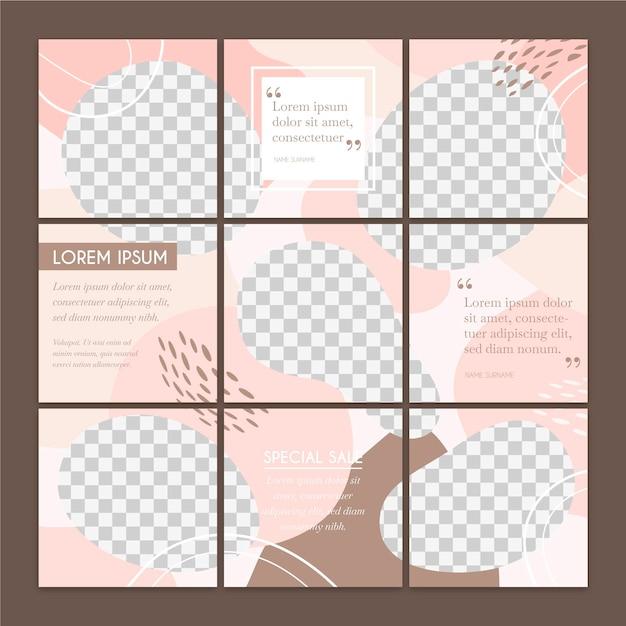 Set di post di feed di puzzle di social media Vettore gratuito