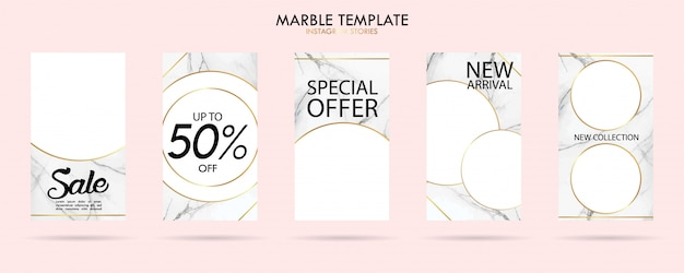 Set of social media stories template pack with luxury trendy marble texture Premium Vector