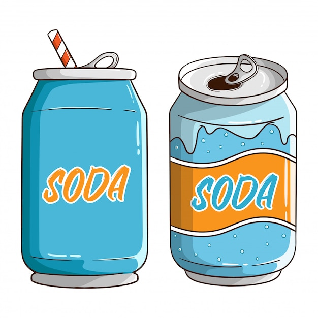Set of soda can with colored hand drawn style Premium Vector