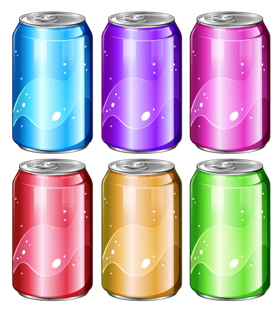Set of soda cans Free Vector