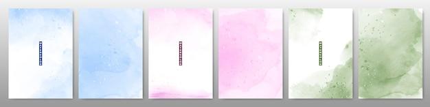 Set of soft bright watercolor background Premium Vector