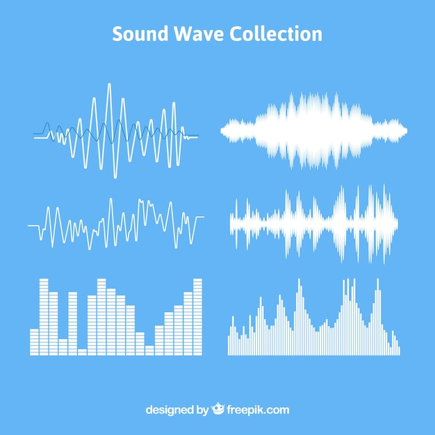 Set of sound waves with different designs Free Vector