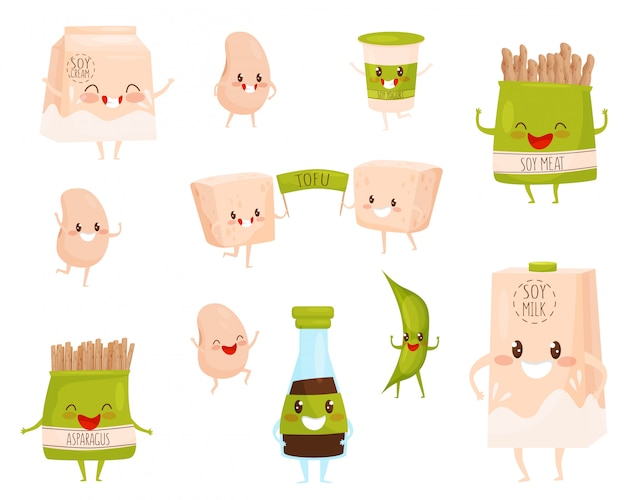 Set of soy products characters with cute faces. milk and cream, cup of yogurt, soybeans and meat, tofu and sauce Premium Vector