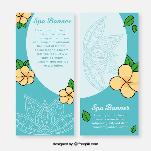 Set of spa banners with flowers Free Vector