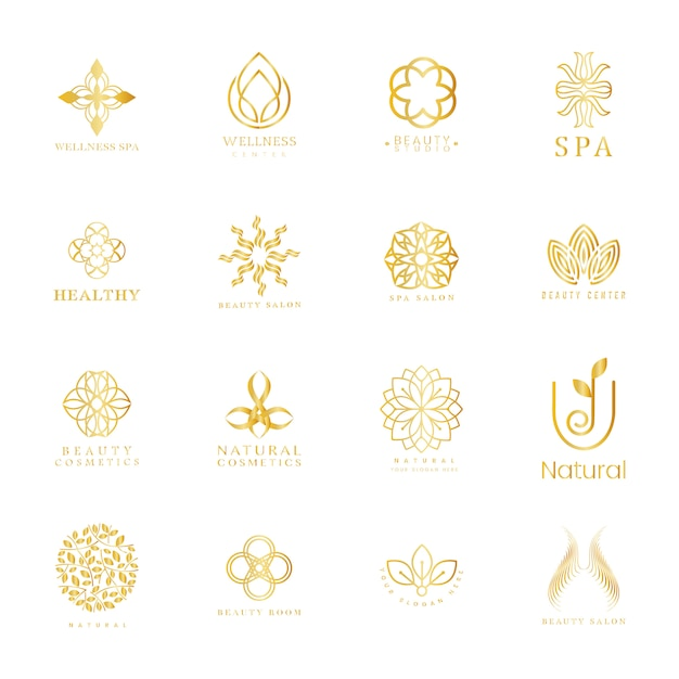 Set of spa and beauty logo Free Vector