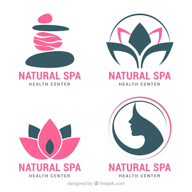Set of spa logos in flat style Free Vector