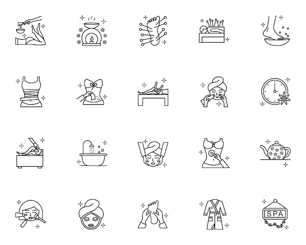 Set of spa outline icons Premium Vector