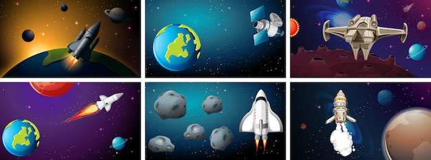 Set of space background scenes Free Vector