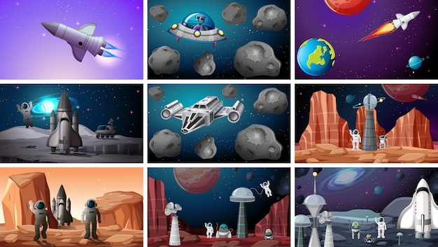 Set of space backgrounds Free Vector