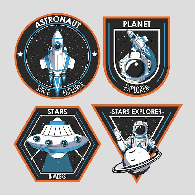 Set of space explorer patches emblems design Free Vector