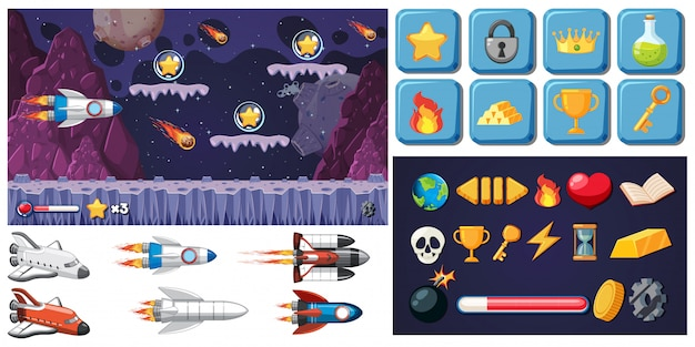 Set of space game Free Vector