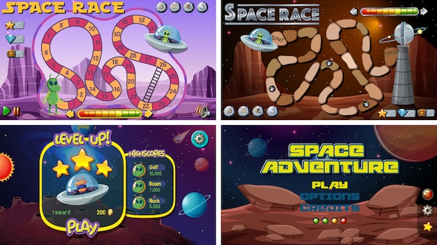 Set of space games Vector | Free Download