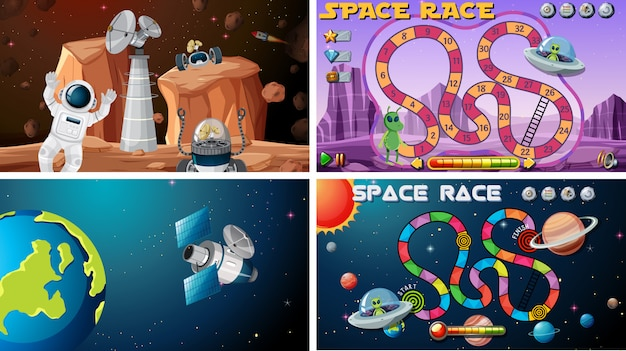 Set of space games Free Vector