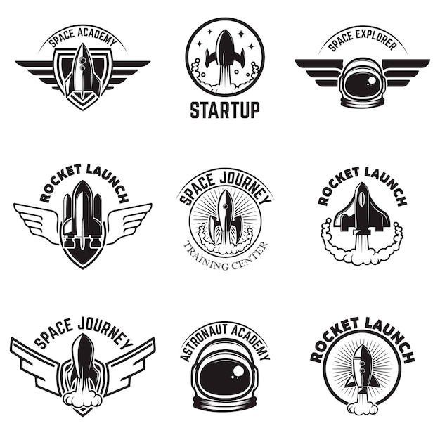 Set of space labels. rocket launch, astronaut academy.  elements for logo, label, emblem, sign.  illustration Premium Vector