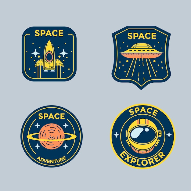 Set of space mission patch badges and logo emblems Premium Vector