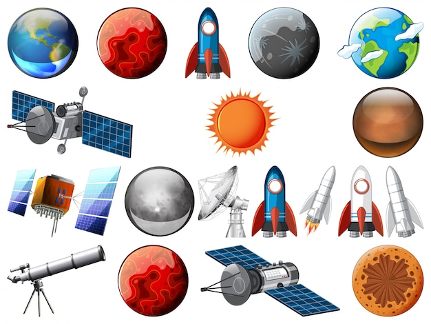 Set of space object Premium Vector