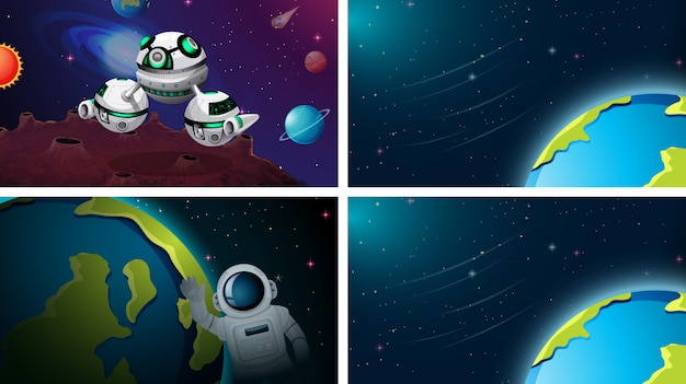 Set of space scene or background Free Vector