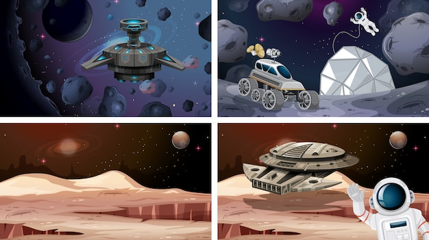 Set of space scenes or background Free Vector