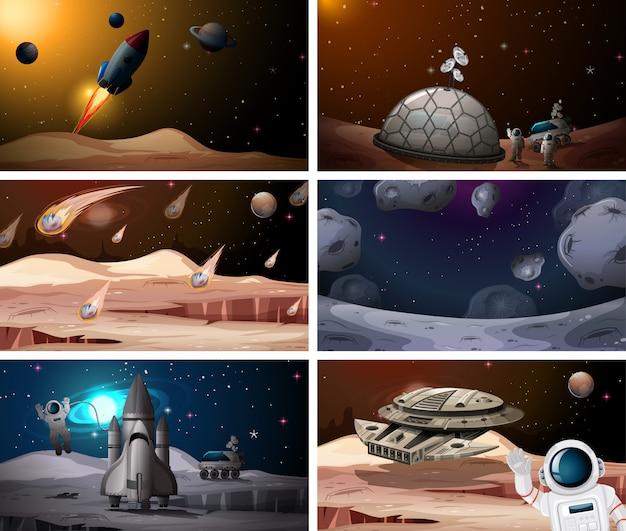 Set of space scenes Free Vector