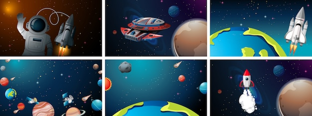 Set of space scenes Free Vector