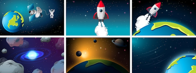 Set of space ship and earth scenes background set Free Vector