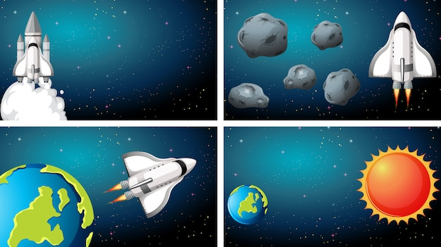 Set of space ship scenes background Free Vector