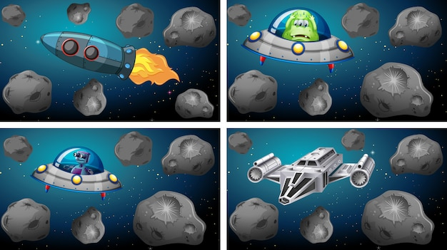 Set of space ships and asteroids Free Vector