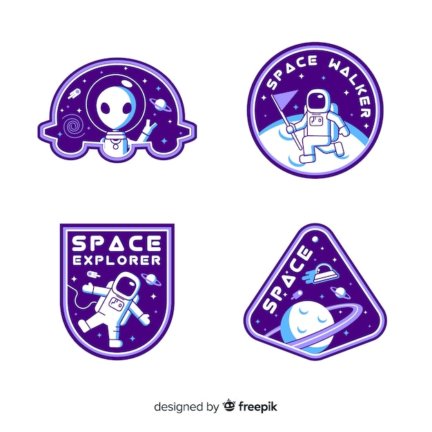 Set of space stickers with different shapes Premium Vector