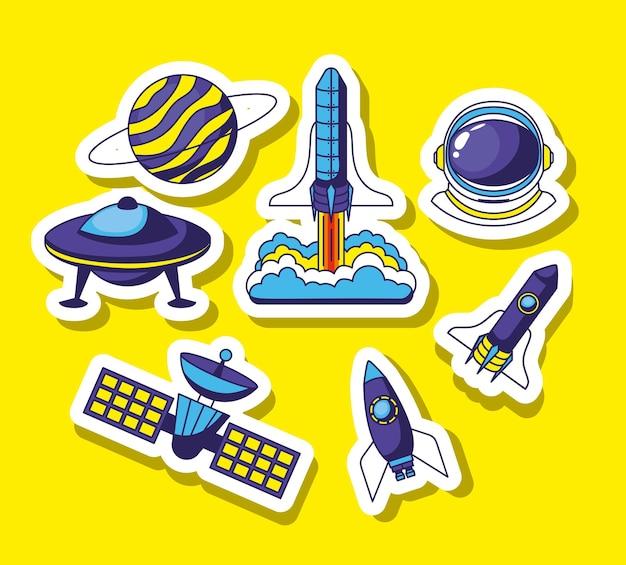 Set of space stickers Premium Vector