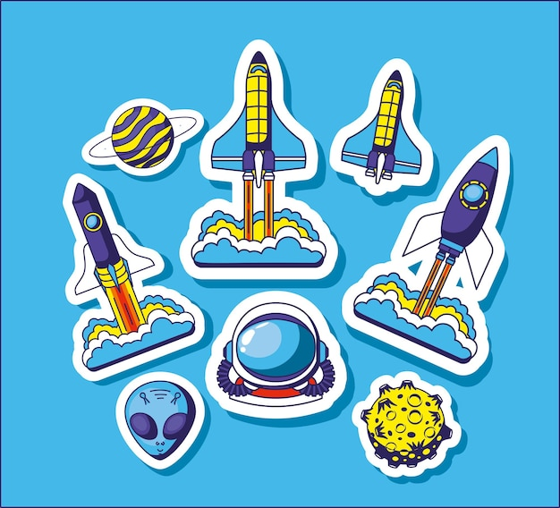 Set of space stickers Premium Vector