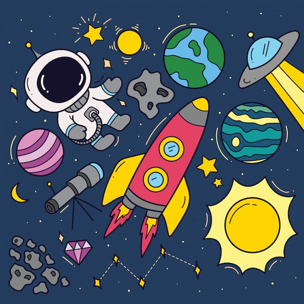 Set of space theme cartoon doodles Premium Vector