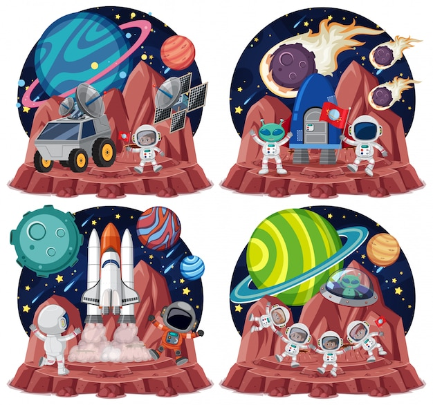 Set of space themes with astronauts isolated on white backgroud Premium Vector