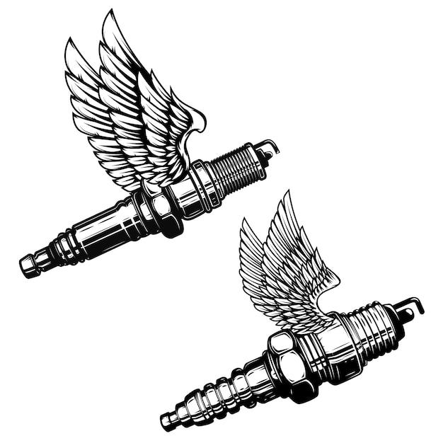 Set of spark plug with wings.  elements for logo, label, emblem, sign.  illustration Premium Vector