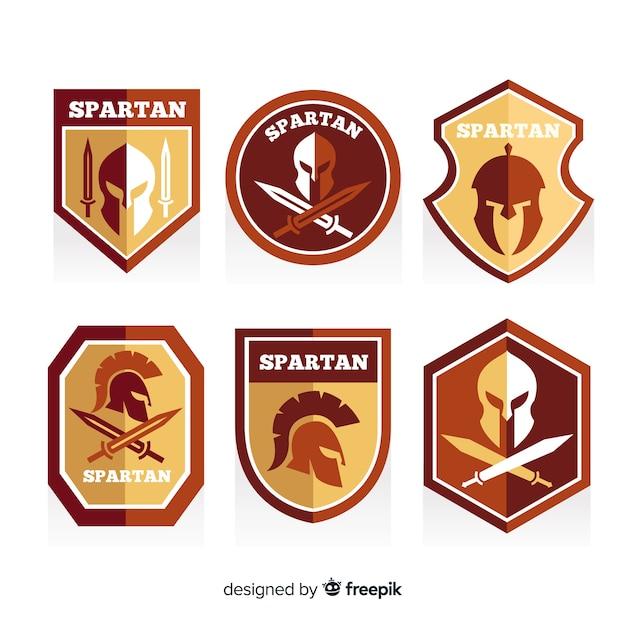 Set di etichette spartane Vettore gratuito
