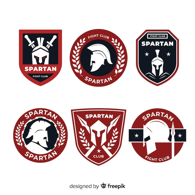Set of spartan labels Free Vector